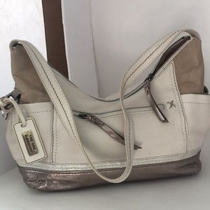 SAK white silver leather satchel bag Kendra
